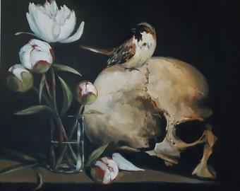 Memento Mori with Human Skull, Sparrow and White Peonies- Original Still Life Oil Painting- Dark Macabre Art- Little Bird, Flowers, Bones