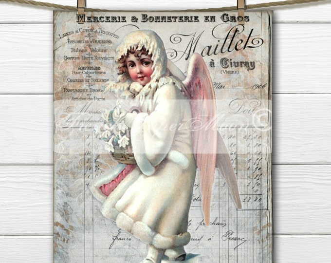 Vintage Digital Victorian Snow Angel, Vintage Angel Download, French Graphics, French Christmas Pillow Transfer Image