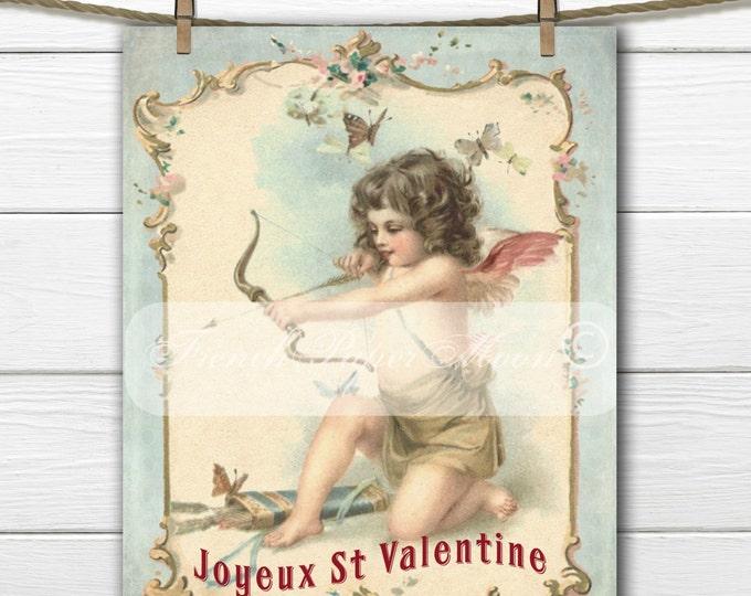 Vintage Shabby Chic Digital Valentine Cherub, French Valentine Download, French Pillow Image, Valentine Graphic Transfer