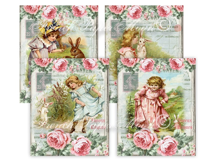 Adorable Victorian Girl, Bunnies,  Digital Collage Sheets, French Download, Pillow Transfer Graphic, Set of 4