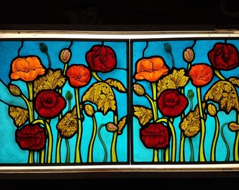 Field of Poppies- custom hand painted stained glass panels