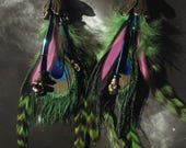 RESERVED LISTING 4 pairs flower feather bead earrings