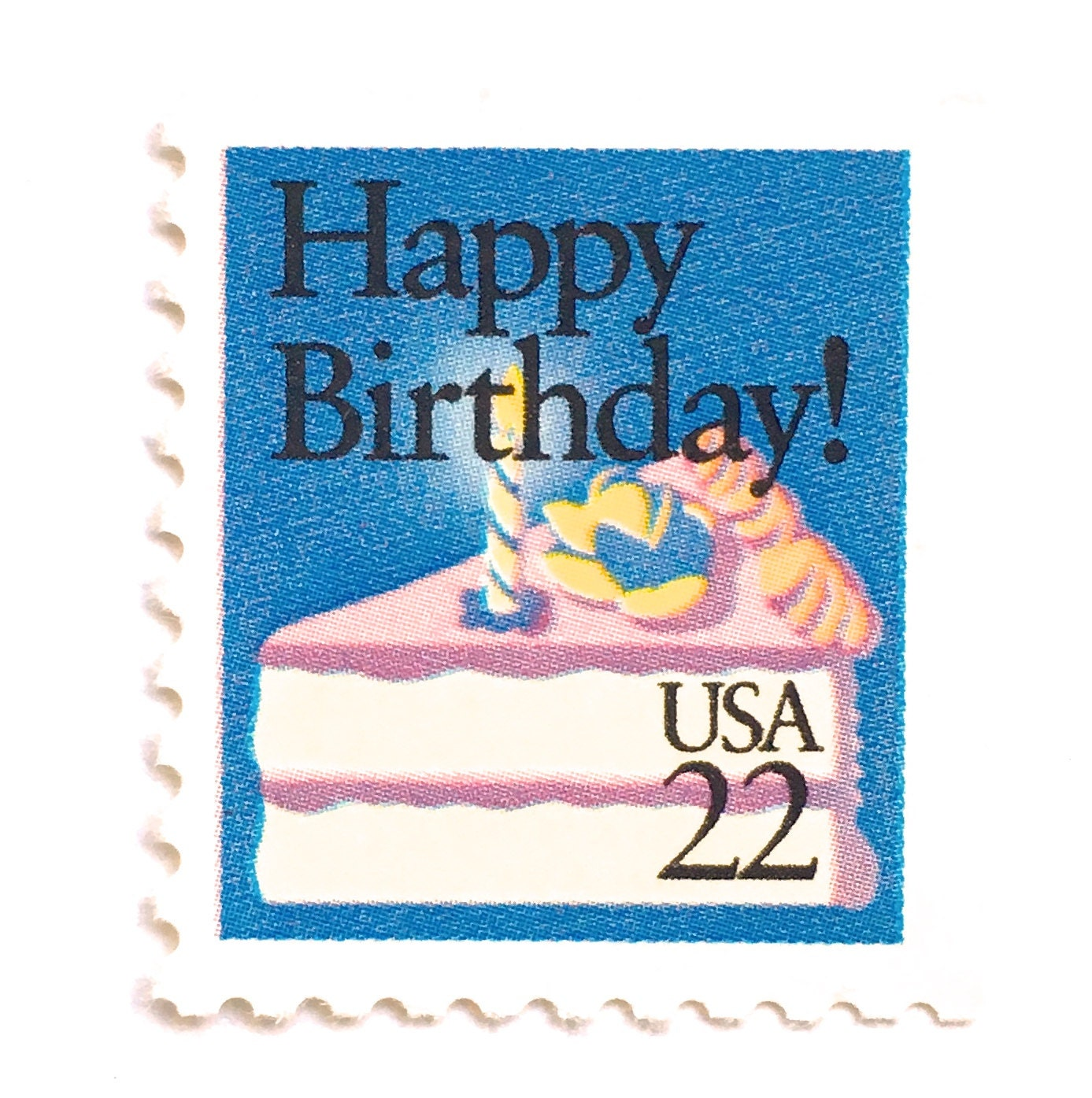5 Unused Vintage Happy Birthday Postage Stamps // 22 Cent