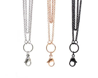 """Silver, Black or Rose Gold 32"""" Rolo Stainless Steel Floating Locket Chain & Lobster Clasp for Living Memory Magnetic Lockets and Pendants"""
