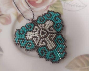Turquoise Triangle Beadwork Necklace, Turquoise and Brown Beadwork Necklace, Wedding Pendant, Beadwork Jewelry, Mother's Day Gift- For Her