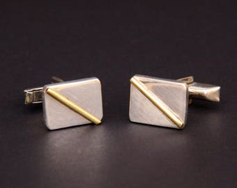 Mixed Metal Sterling Silver Cuff Links