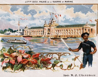 French Victorian Trading card  Expo 1900 paris