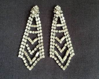 1950's rhinestone clip-on ear-rings.