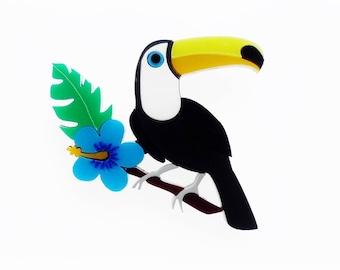 Tropical toucan brooch