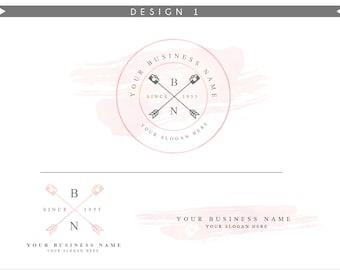Watercolor Logo Design Branding Package Inc. Photography Logo Watermark - Rose Pink camera arrows vintage Watercolor Logo- Logo 1