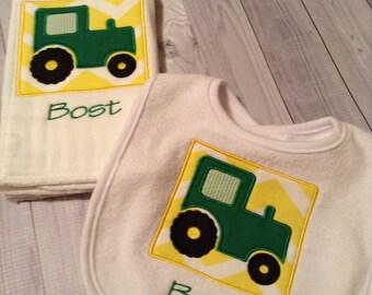 Personalize Bib, Tractor Bib, Tractor Burp,  personalized burp,, bib set, bib and burp set, tractor bib and burp set