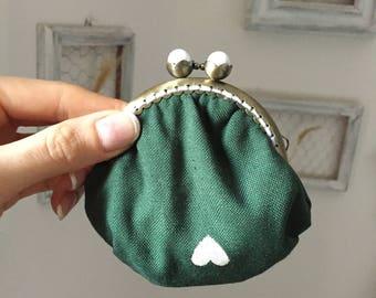 Coin Purse Green Fabric Frame closure