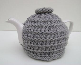 Hand Knit Tea Cozy in Grey. Teapot Cozy.