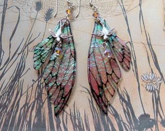 Fairy Wing Earrings, Fairy Earrings, Faerie Earrings, Iridescent Earrings, Hand Painted, Dangle Earrings, Boho, Hippy, Bird Earrings