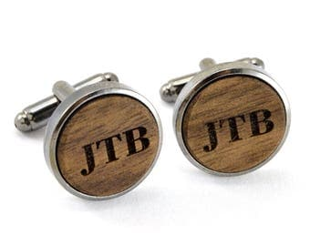 Handmade Wood Cufflinks  - Walnut wood Cuff Links (Handmade in USA) - Silver Sided Wood Cufflinks