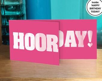 Birthday card wife, birthday card women, birthday card sister, birthday card lady, cake lovers, birthday card friend, letterpress style,pink