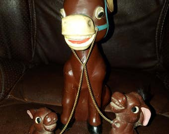 Vintage Donkey Bobble Head Bank Chained Babies