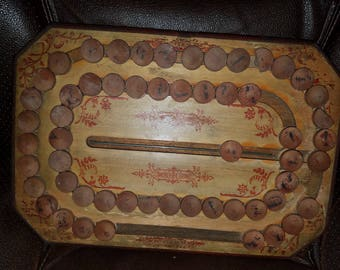 Antique 1800's Wooden Spelling Board Game, Toy
