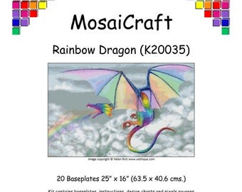 MosaiCraft Pixel Craft Mosaic Art Kit 'Rainbow Dragon' (Like Mini Mosaic and Paint by Numbers)