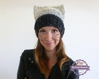 Cat Ears Hat - Cat Ears Beanie - Grey Cat Ears Beanie - Brown Cat Hat - Cat Ears Hat - Knitted Cat Beanie - Knit Cat Hat - Kitty Hat