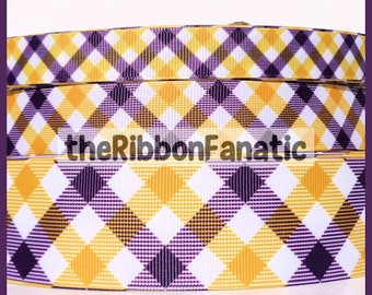 "5 yds 5/8""  7/8""  1.5"" Purple and Gold Yellow Plaid Check LSU Print Printed Grosgrain Ribbon"