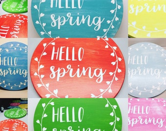 HELLO spring wood entry sign in spring green blooming pink bright coral