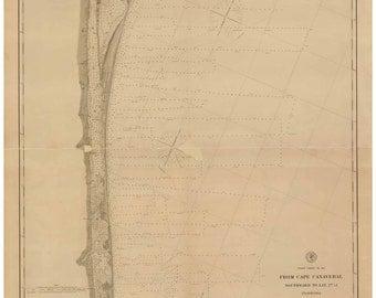 Cape Canaveral Southward - 1887 Nautical Map Reprint - Florida - 80000 AC Chart 162