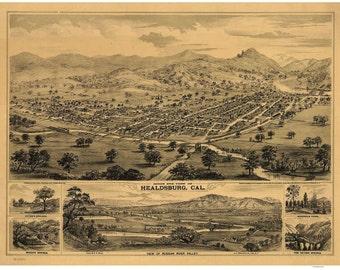Healdsburg - 1876 Birds Eye View California- Reprint