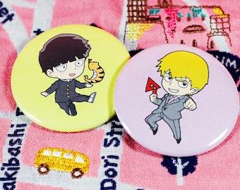 "Mob Psycho 100 Mob (Kageyama Shigeo) & Reigen Arataka 2.25"" can badges buttons pins"