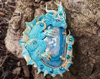 Turquoise Dragon with Agate Pendant