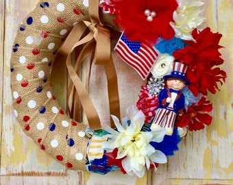 Clearance Fourth of July wreath; burlap wreath; Upcycled vintage ornament wreath; Patriotic Wreath; USA wreath; FREE gift jewelry included