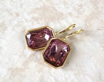 Light Amethyst Rhinestone Earrings, vintage rhinestones, earrings, bridesmaid earrings, vintage, bridesmaid gift, purple