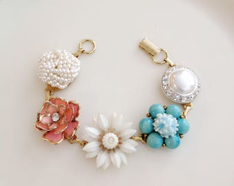 Coral Teal Bridal Bracelet, Vintage earring bracelet, pearl, rhinestone, jewelry, bracelet, cluster, wedding bracelet, vintage wedding