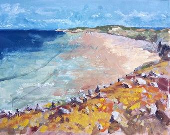 """Original oil landscape painting """"Pointe du Toulinguet, Camaret"""" sea wall landscape art home decor french painting modern sea beach landscape"""