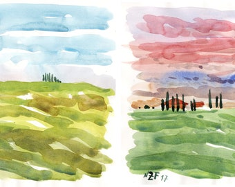 LOT two Tuscan landscapes original watercolors landscape tuscany art italian countryside decor original wall painting landscape tuscany