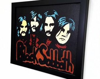 Black Sabbath RETRO - Framed Wall Art Giclee Canvas Paint, Painting, Poster, Print