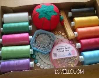 Thread and Pins Gift Set - Brights -  Sewing thread, tomato pin cushion, sewing pins, tape measure gift box