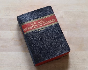 Vintage Book, Vintage Dictionary, New Handy Webster Dictionary with case, Black and Red, Webster Dictionary, Mini, Illustrated, Cute