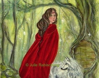 original art- wolf- forest- woman- fairy tale- red riding hood- red- green- magic- fantasy art- painting- watercolor- fairy tale art