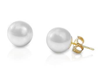 Cultured Pearl Stud Earrings, AAA Grade (Fresh Water Pearls) set in 9CT Gold