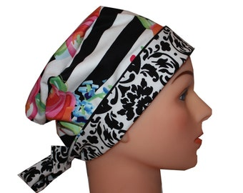 Scrub Hat Surgical Medical Cap Chemo Hat Tie Back Flirty Front Fold Pixie Style Pink Roses Blue Green Black Stripes  2nd Item Ships FREE