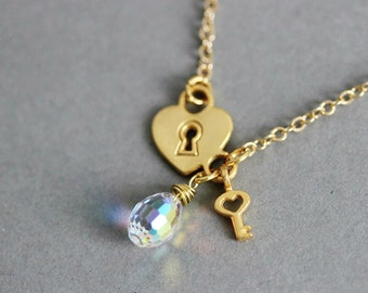 Lock and Key Necklace Lock and Key Jewelry Lock and Key Pendants Matt Gold Necklace Gold Lock Necklace Charm Necklace Lock Necklace