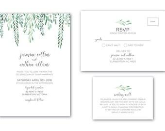 Printable Wedding Invitation   Customized   Wedding Invitation   Wedding Invitation Set   Hanging Leaves Suite