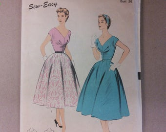 Advance 6675 Dress Gathered Full Skirt Fitted Dress Vintage Sewing Pattern 1950s 50s Size 18