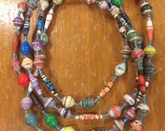 Necklace - Ugandan Recycled Paper Beads - Extra Long