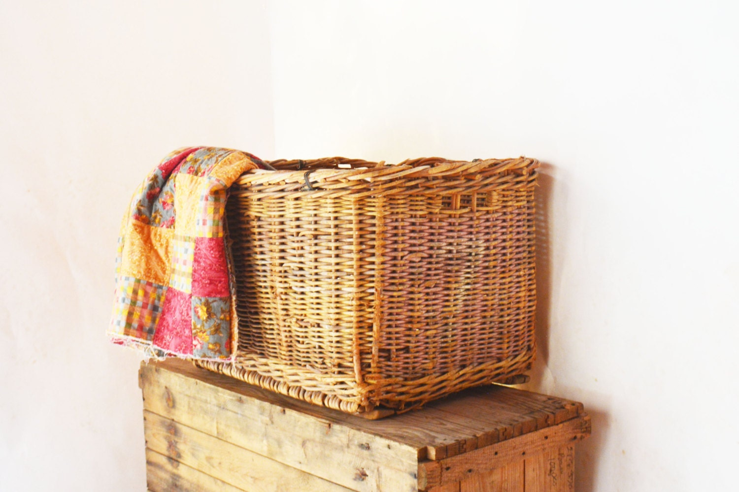 Extra Large Wicker Basket Antique Cotton Picking By