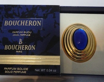 Vintage Boucheron Solid Perfume Parfum 0.04oz, gold plated with original box