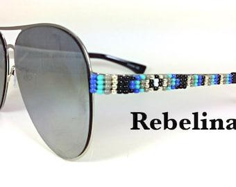 SALE Beaded Sunglasses Ice Aviators