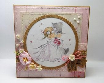 Handmade Stitched Wedding Card