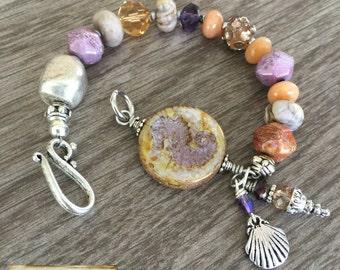 Violet Seahorse Beaded Bracelet